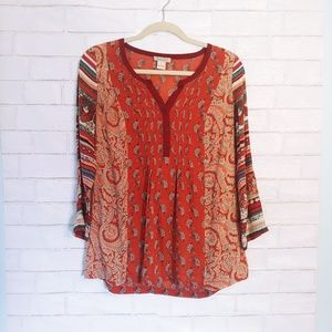 Lucky Brand Lightweight Paisley Patterned Top S